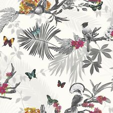 Arthouse Beautiful Mystical Forest White & Multi Colour Glitter Wallpaper 664802