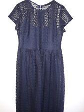 Zara Azul Marino Encaje Maxi Vestido Talla L