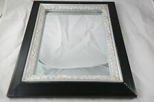 Vintage Picture Frame Reclaimed Wood and Metal Mirror 8X10 Inches Custom Black