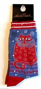 "Laurel Burch ""Crimson Crew"" Denim Blue Red Cat Socks **One Size Fits Most"