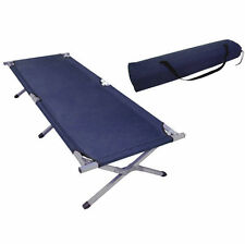 Folding Camping Bed Ourdoor Travel Camp Light Aluminium Steel Legs With Bag Blue