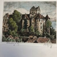 20th century Aquatint Etching  of Meersburg Castle in Germany