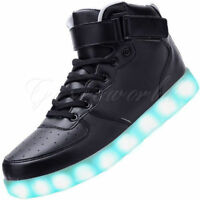 LED Light Lace Up Luminous Shoes Sportswear Sneaker Casual Shoes Black US 5-10.5