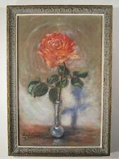 Ancien Tableau Peinture Huile sur tissu velours Rose Vase Soliflore Signé Flower