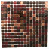 Glass Mosaic Tiles  Mahogany, Walnut, Red, Peach Coloured With Real Gold Veins