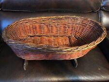 Antique Wicker Cradle Rocking Baby Bassinet Basket