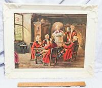 Vintage Plastic Picture Frame with Colonial Themed Print mv