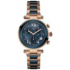 GUESS Women's GC Rose Gold & Blue Ceramic Timepiece