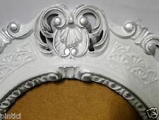Cadre d'image BLANC-ARGENT ovale ANTIQUE BAROQUE CADRE PHOTO 45x37 mirroir Neuf