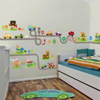 Kids Room Wall Stickers Cartoon Cars Highway Track Sticker Children Play Decals