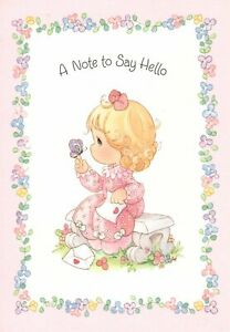 Precious Moments Thinking Of You Girl & Purple Butterfly Hallmark Greeting Card
