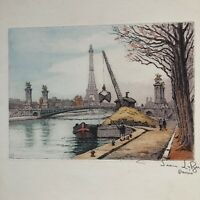 !930's Aquatint  Etching of a Dredge on the Siene River with the Eifell Tower