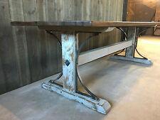 Rustic Vintage Reclaimed Iron Bridge Oak Dining Table