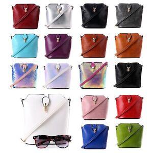 Womens Small Gold buckle Bucket Crossbody Messenger Handbag Shoulder Purse Bag