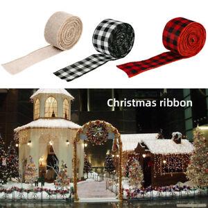 UK 6m Buffalo Check Plaid Farmhouse Christmas Wired Ribbon XMAS Decor