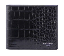 Givenchy Wallet Black Calf Leather Mens Bifold BK06021396 001 Lettering Logo