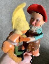 RARE Antique Schuco Wind Up Dancing Dwarf Gnome Dad & Baby Works Great W/Key