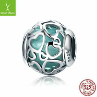 925 silver charm with Lake Green Encased in Love Charm fit original bracelet NEW