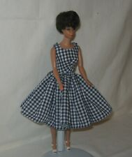 Handmade SHORT Cotton Navy and White Gingham Checked Print Dress FOR Dolls