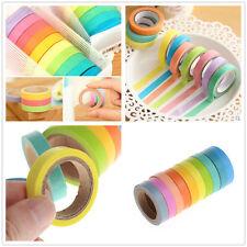 10Pcs DIY Rainbow Sticker Paper Masking Adhesive Decorative Tape Scrapbook NEW