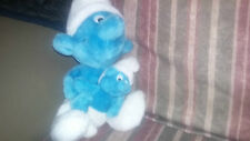 Vintage smurf schtroumpf toutou doggie plush with baby avec bebe PEYO
