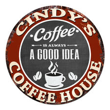 CPCH-0113 CINDY'S COFFEE HOUSE Chic Tin Sign Decor Gift Ideas