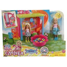 BARBIE CHELSEA FUN HOUSE PLAYSET W/ DVD & DOLL SET DMR64 *NEW*