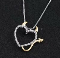 DEVIL LOVE HEART CRYSTAL PENDANT NECKLACE WITH HORNS SILVER & GOLD PLT