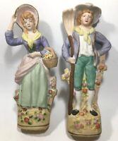 "Vintage Pair of Bisque Farmers Figurines 11 1/4""H"