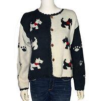 Vintage Rey Wear Hand Knit Sweater 100% Cotton sz Small/Medium Scottie Dog