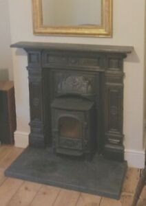 Victorian Cast Iron Fire Place Surround and Mantle, with Slate Decorative Hearth