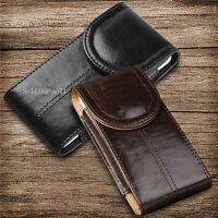 Magnetic Vertical Leather Carry Case Pouch With Belt Clip Loop For Apple Samsung