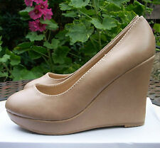 SUPER MODE Khaki Faux Leather High Wedge Heel Casual Summer Shoes Size 5