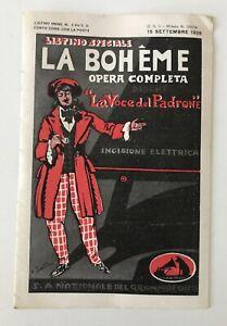 LISTINO MENSILE NOVITA' LA VOCE DEL PADRONE N. 4 BIS 15 SETTEMBRE 1928 LA BOHEME
