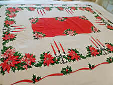 Christmas Table Cloth  Candelabras Poinsettias Red Green Gold 56x70 Vtg tc4