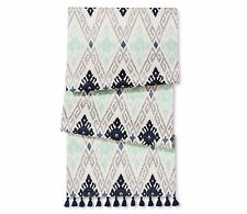 Threshold Aztec Print Cotton Tablecloth Table Runner 14in x 90in  Navy Fringes