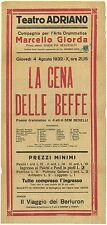La cena delle beffe Comp Arte Drammatica Giorda Teatro Adriano 1932 Roma