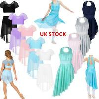 UK Girl Lyrical Show Costume Ballet Dance Dress Tutu Skirt Irregular Hem Leotard