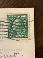 Rare George Washington 1 Cent Stamp 1914 On Post Card Vintage Photo