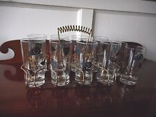 10 FEDERAL GLASS Amoeba Boomerang Bar Cocktail Tumblers w/Carrier Retro Atomic