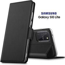 COVER per Samsung Galaxy S10 Lite CUSTODIA PORTAFOGLIO PELLE Nero con Card Slots