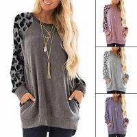 New Women Ladies Leopard Print Long Sleeve Blouse Casual Sweatshirt Tops Blouse
