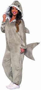 Grey Shark Hooded Jumpsuit Cozy Plush Animal Adult Unisex Halloween Costume STD
