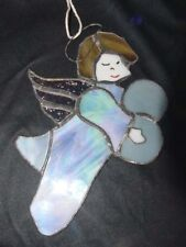 """Vintage BLUE STAINED GLASS Guardian ANGEL HANGING SUNCATCHER ART~Handcrafted 9"""""""