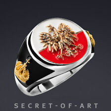 Poland Polish Ring with eagle  crown, Sterling silver 925, 24K-Gold-Plated parts