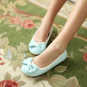 UK Women Girls Round Toe Flat Cute Bow Pump Oxfords Slip On Ballet Comfor Shoes