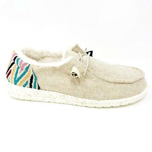 Hey Dude Wendy Funk Wool Beige Womens Casual Lightweight Shoes 121410544