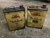 MOBILOIL 2 latte d'olio MOTORE BENZINA anni '30