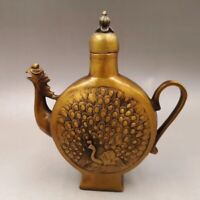 Chinese Antique Old copper to create peacock flowers Phoenix flagon teapot  Home