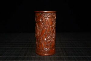 """4.3"""" Collection Chinese Box-wood Hand Carved Pine Tree Figure Stories Brush Pot"""